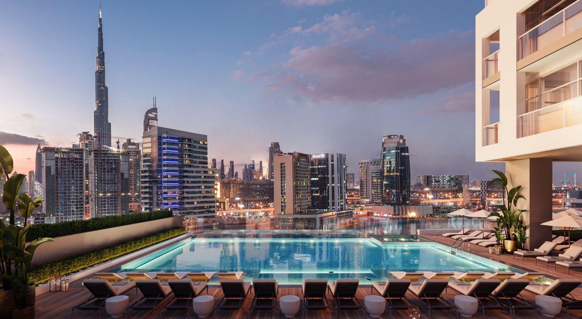 Waterfront Infinity Pool with Burj Khalifa Views